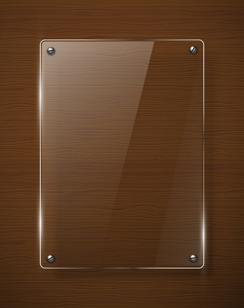 Wooden texture with glass framework illustration  Vector