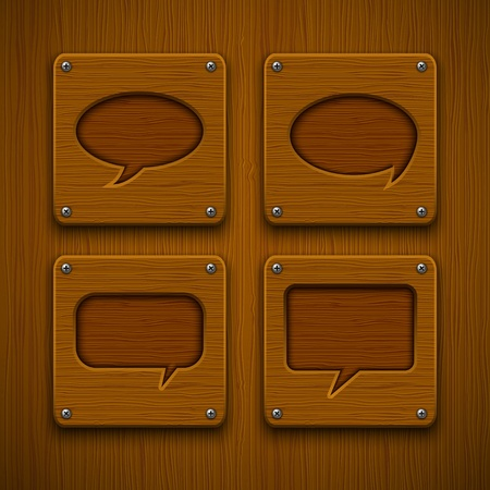 Set of realistic wooden speech bubbles Stock Vector - 13883460