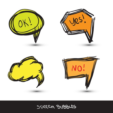 Comic Speech Bubbles  Hand drawn illustration Stock Vector - 13898835