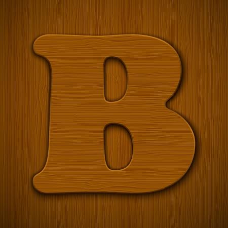 Letter  B   Wooden alphabet illustration Stock Vector - 13898852