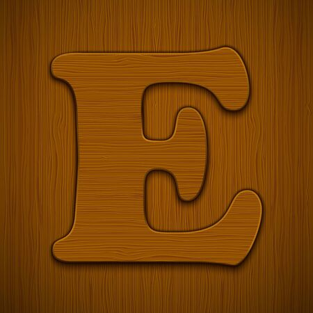 Letter  E   Wooden alphabet illustration  Stock Vector - 13898867