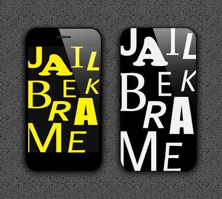 jailbreak: Mobile phone on a grey background  Illustration