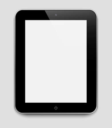Realistic tablet pc computer with blank screen isolated on a grey background Stock Vector - 14679599