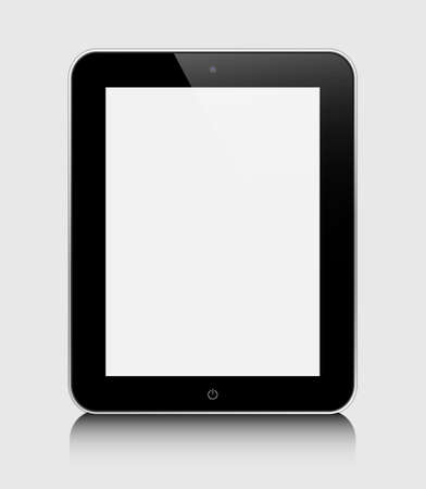 Realistic tablet pc computer with blank screen isolated on a grey background Stock Vector - 14788887