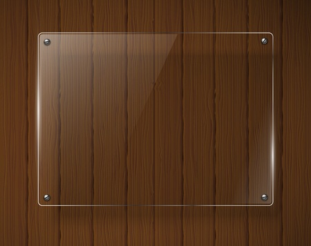 old wooden door: Wooden texture with glass framework illustration  Illustration