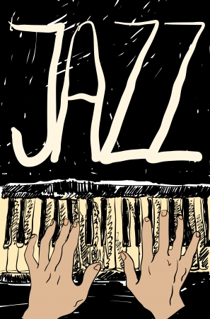 hands on keyboard: Playing the jazz piano. Hand drawn.