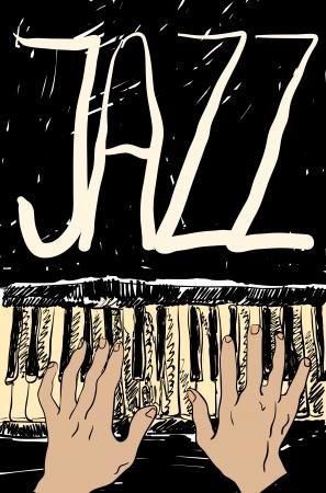 Spelen op de jazz piano. Hand getrokken.