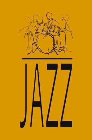 cymbol: Sketch. Jazz drummer.  Illustration
