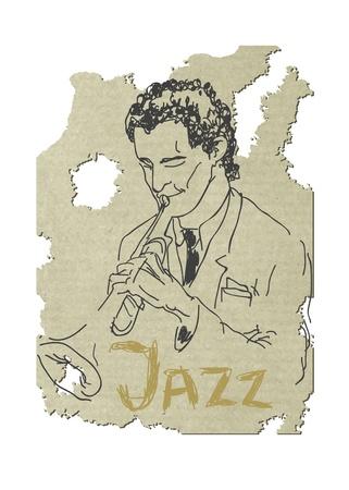 musically: Illustrazione di un trombettista Verctor Eps8 Vettoriali