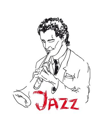musically: Illustrazione di un trombettista Vettoriali