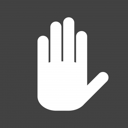 stop hand silhouette: Icon white hand on a grey background