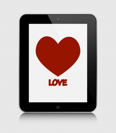 tablet pc with heart  Vector