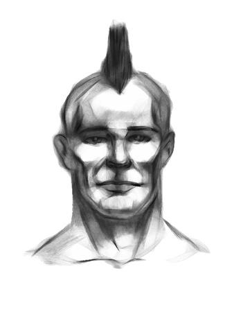 Punk  Head  Hand drawing  Eps 8 Vector