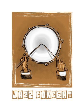 percussionist: Musical background  Vector  Hand drawn  Illustration