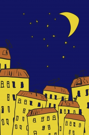 yellow roof: Starry sky  Vector illustration  Hand drawn  Illustration