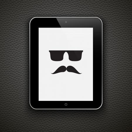 Abstract background with mustache and tablet pc  Vector