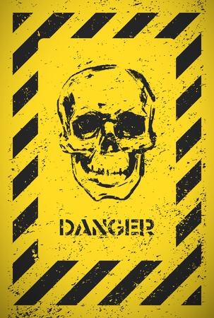 forewarn: Danger sign with skull  Vector illustration