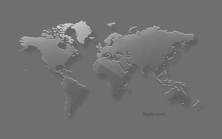 plexiglas: Glass world map  Vector illustration  Eps10