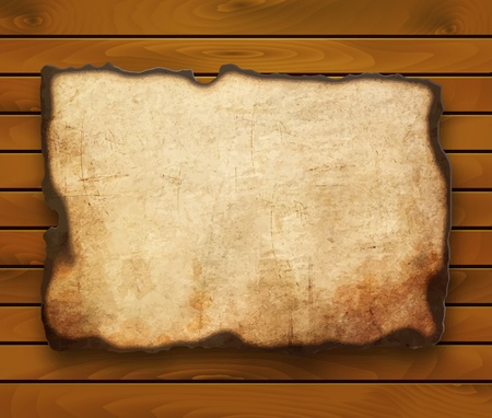 burnt wood: Old  paper with burnt edges isolated on a wooden background   Illustration