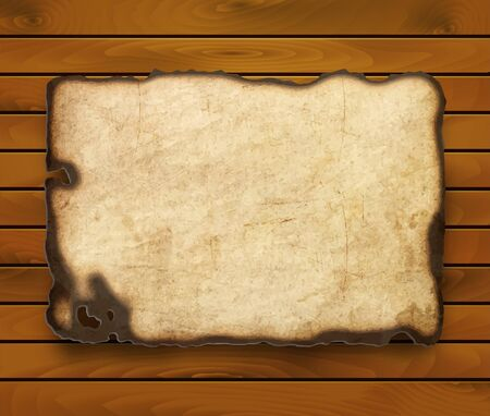 old west: Old  paper with burnt edges isolated on a wooden background   Illustration