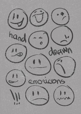 cara sonriente: Conjunto de treinta dibujado a mano emoticonos o smileys cada uno con una diferente expresi?n facial y la emoci?n, dibuj? l?neas en blanco