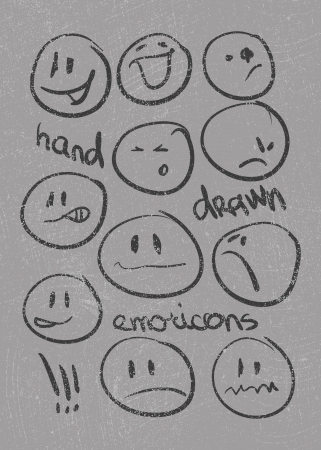 round face: Set of thirty hand drawn emoticons or smileys each with a different facial expression and emotion, sketched outline on white Illustration