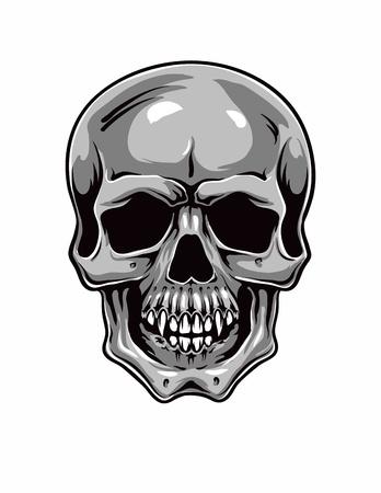 hostile: Cartoon Vector Skull . hand drawn