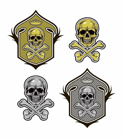 dreadful: shield with skull and bones