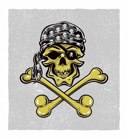 rogue: Skallywag Pirate Skull. Vector eps8