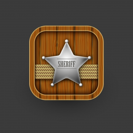 Wooden Sheriff icon.  Vector