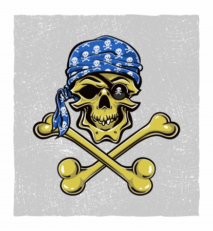 Scallywag Pirate Skull.  Vector