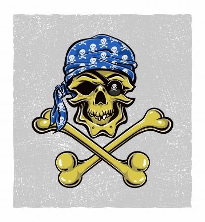 Scallywag Pirate Skull.  Vector