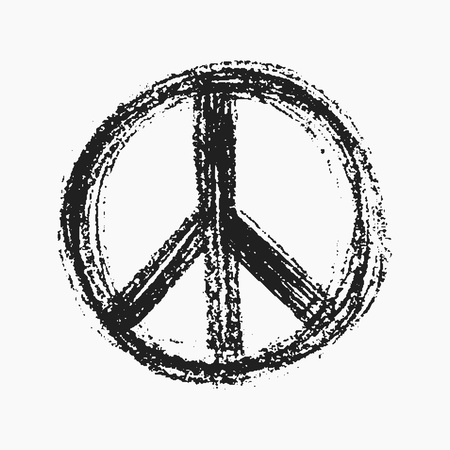 pacifist: Red peace symbol created in grunge style.  Illustration