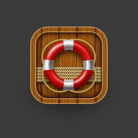 wall mounted: Rescue icon with lifebuoy.
