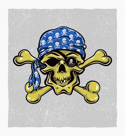 Skallywag Pirate Skull.  Vector