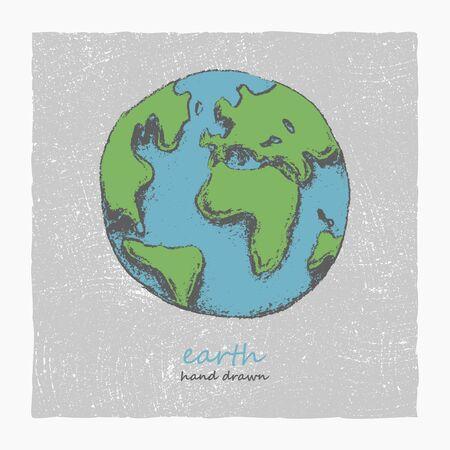 earth in hand: Tierra. Dibujado a mano. Vector Vectores