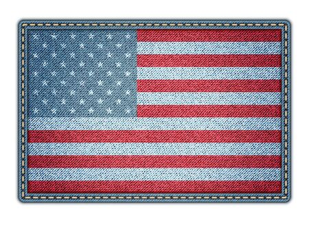 American flag on the jeans texture Vector
