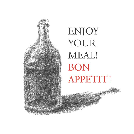 brandy glass: wine bottle over brown background   Illustration