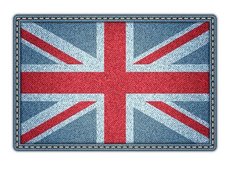 Great Britan flag. Realistic denim. Vector