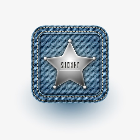 App icon . Realistic denim . Vector
