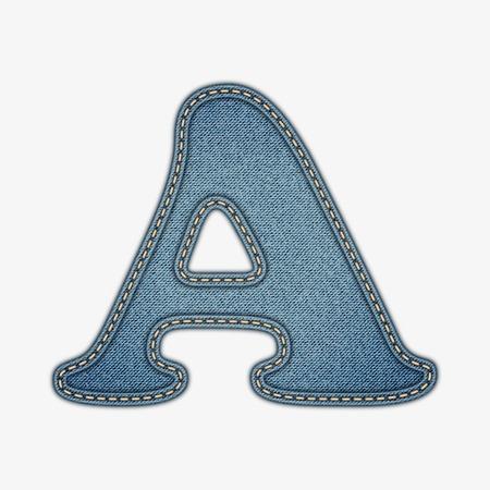 Denim letter Jeans alfabet Stock Illustratie