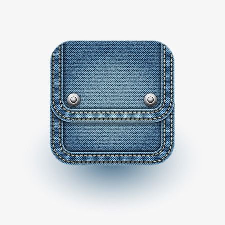 App icon   Realistic denim   Vector