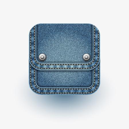 jeans fabric: App icon   Realistic denim   Illustration