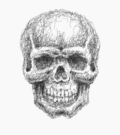 death metal: Cartoon Vector Skull   hand drawn