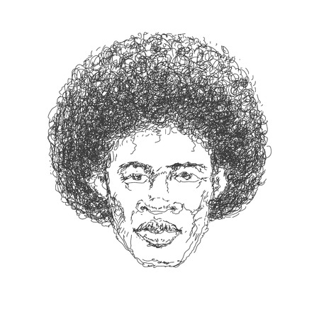 Afroamerican man. Hand drawn.  Vector