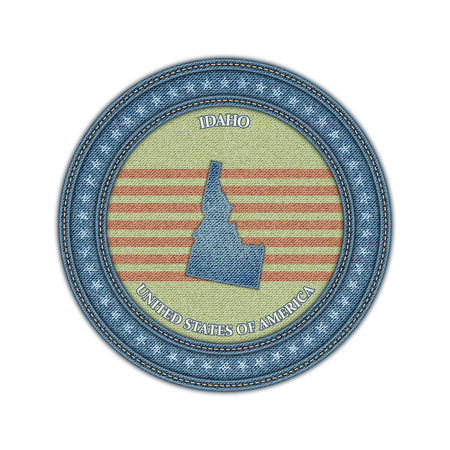 Label with map of idaho. Denim style. Vector eps 10 Vector