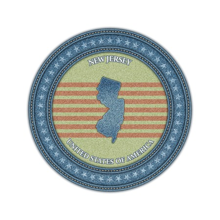 Label with map of new jersey. Denim style. Vector eps 10 Vector