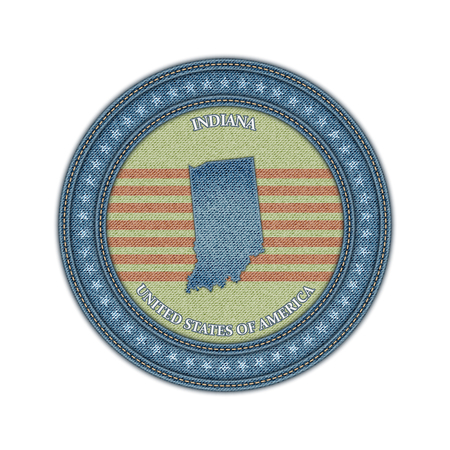 Label with map of indiana. Denim style. Vector eps 10 Vector