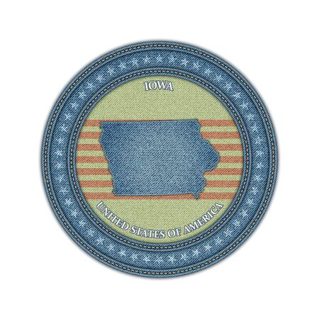 Label with map of iowa. Denim style. Vector eps 10 Vector