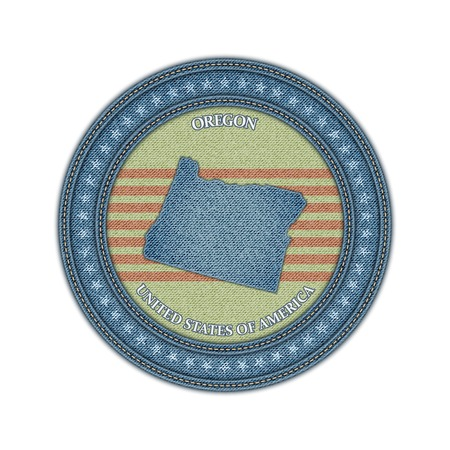 Label with map of oregon. Denim style. Vector eps 10 Vector